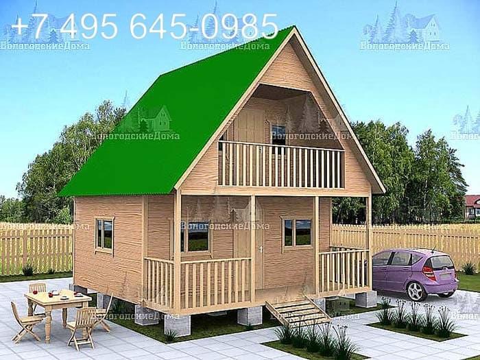 Двухэтажный коттедж с верандой и балконом