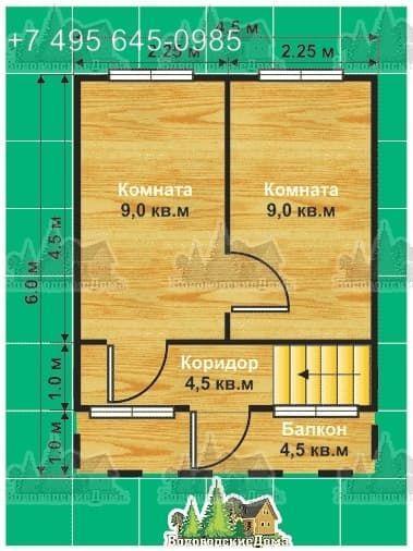 План второго этажа двухэтажного коттеджа с верандой и балконом