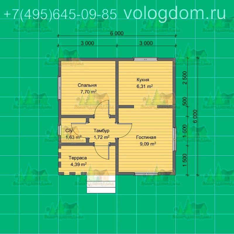 План №1-БО(6,0х6,0 с террасой).