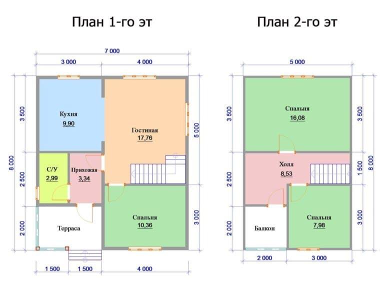 Проекты домов из бруса 8 на 8