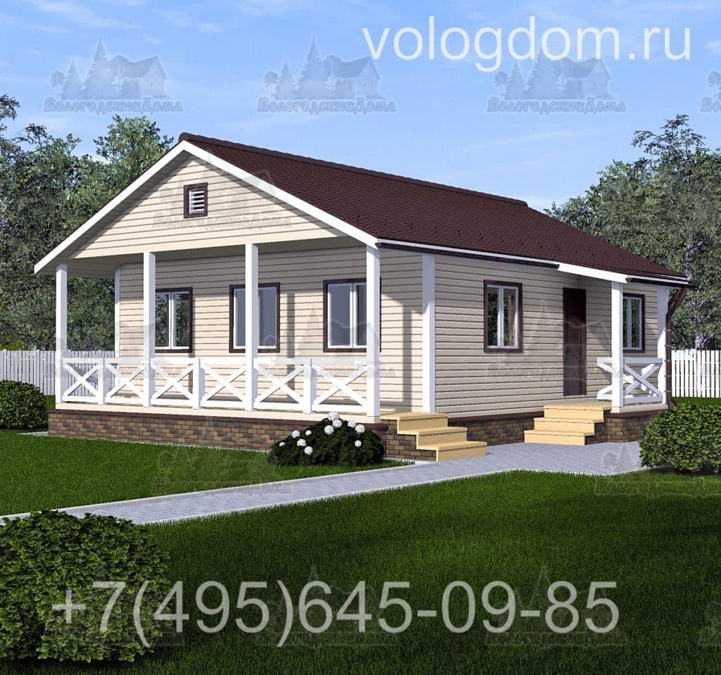 Макет каркасного дома 9 на 9 с односкатной крышей
