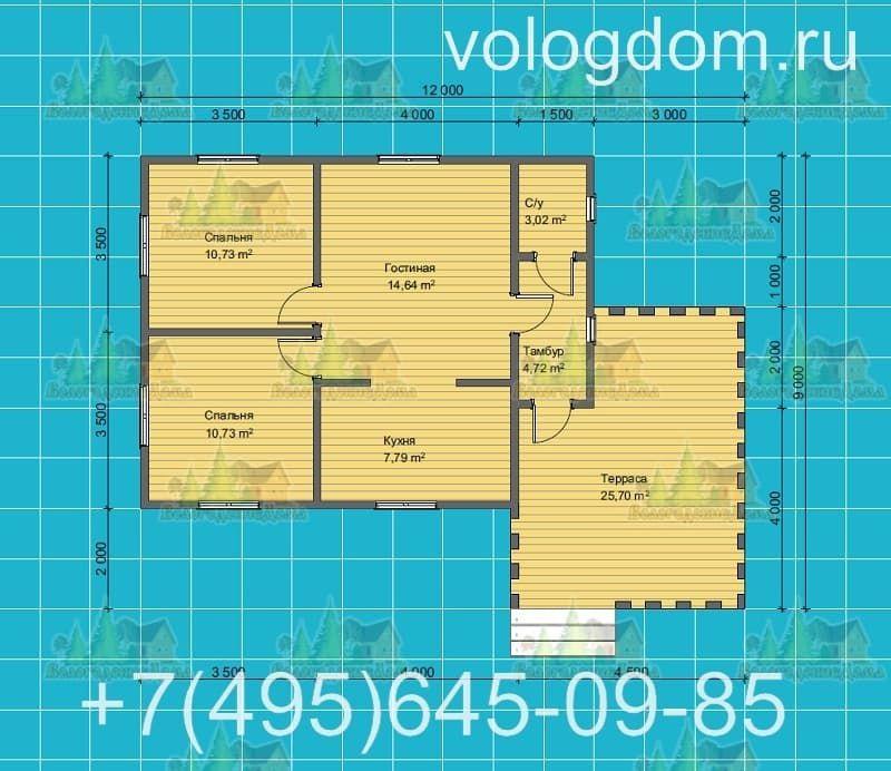 план каркасного дома 9 на 9 м с односкатной кровлей