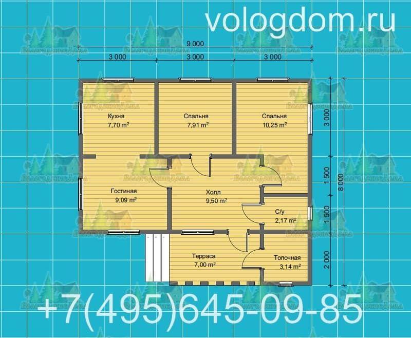 План каркасного дома 9 на 9 м: таунхаус для семьи