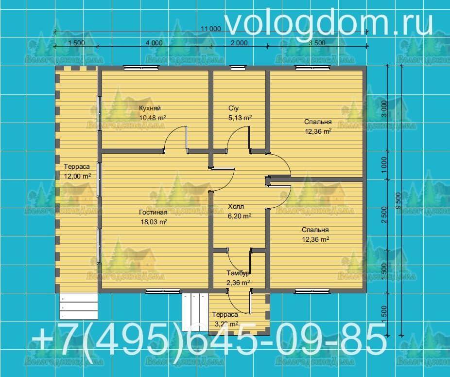 План каркасного дома 9 на 9 с односкатной крышей