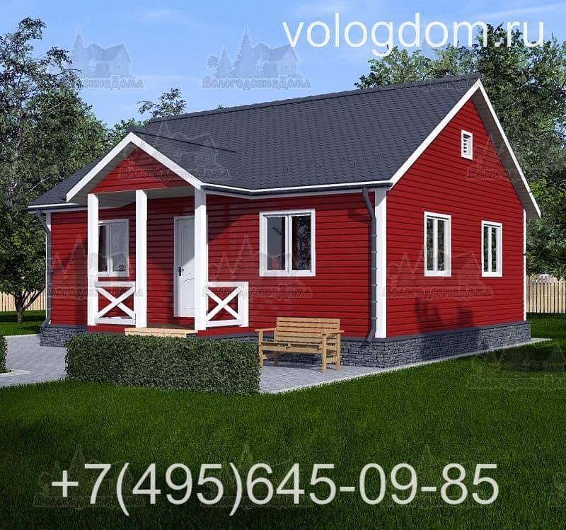 Одноэтажный каркасный дом 9х9 с двухскатной кровлей: визуализация