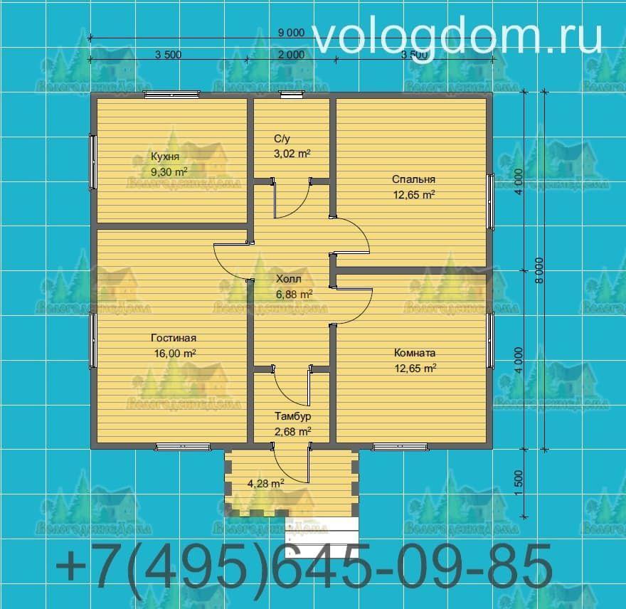 План одноэтажного каркасного дома 9х9 с двухскатной кровлей