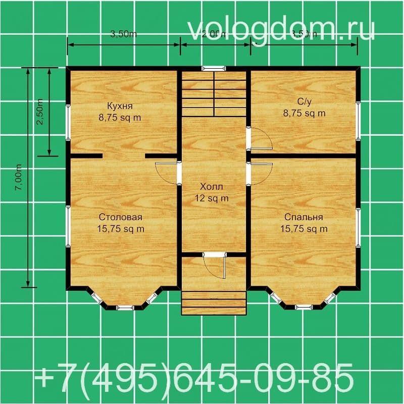 каркасный дом 9 на 9 с вальмовой кровлей: первый этаж