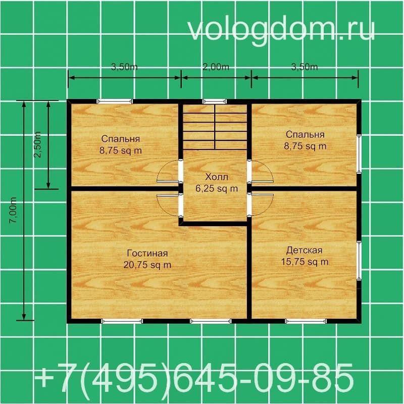 каркасный дом 9 на 9 с вальмовой кровлей: второй этаж