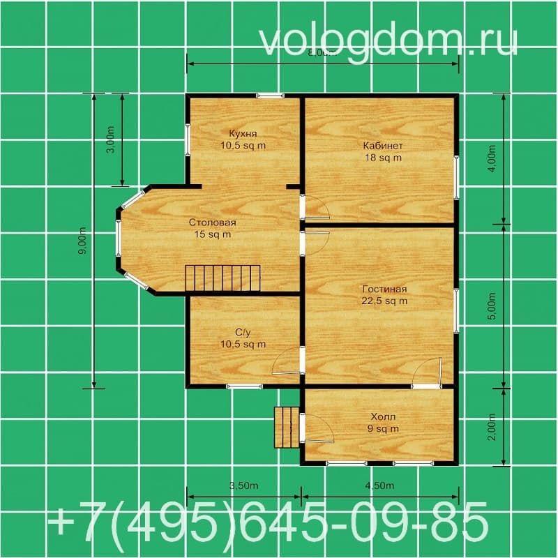 Дом 9 на 9 м из СИП-панелей: план первого этажа