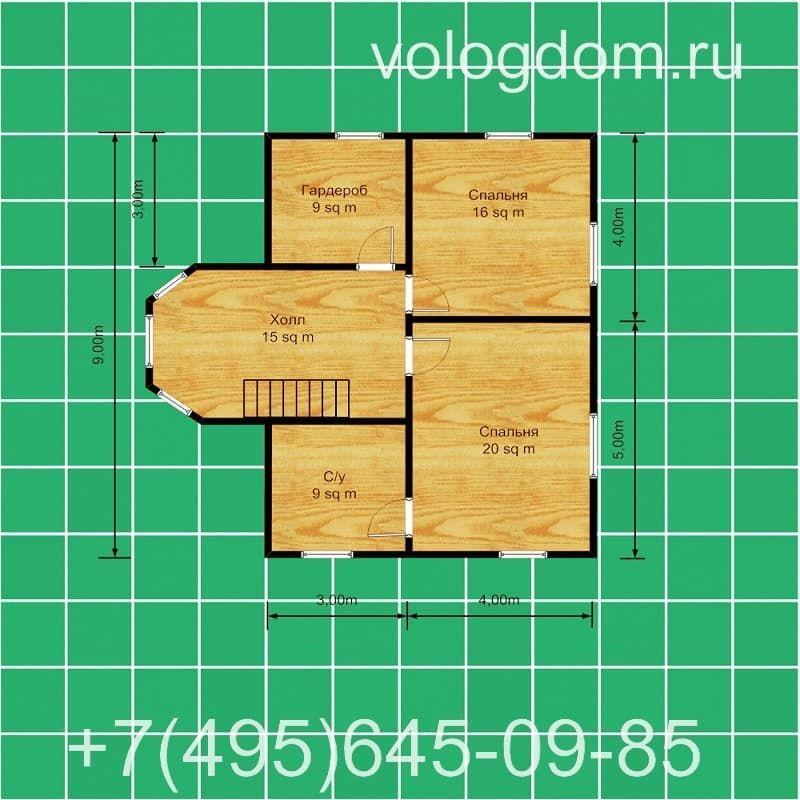 Дом 9 на 9 м из СИП-панелей: второй этаж