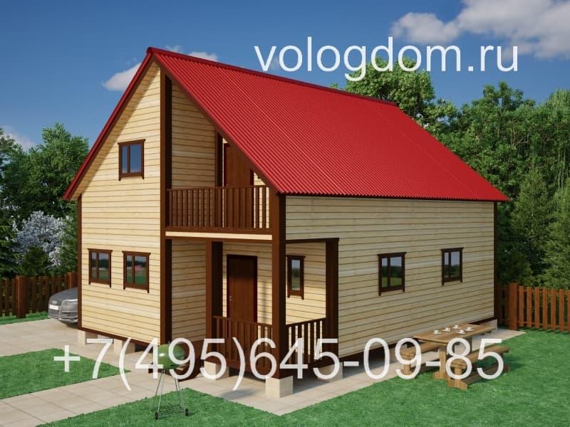 Двухэтажный дом 9х9 м (визуализация)