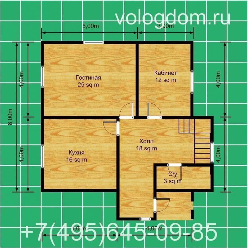Двухэтажный проект с крыльцом: план первого этажа