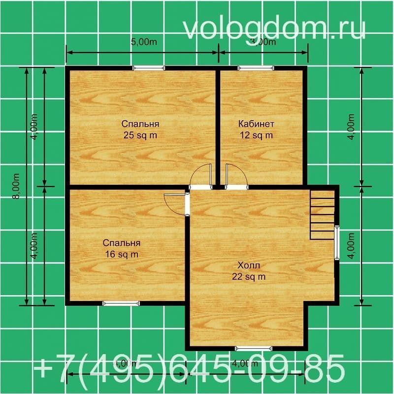 Двухэтажный проект с крыльцом: план второго этажа