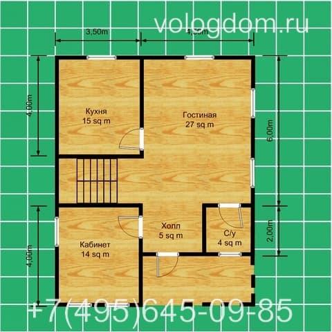 Двухэтажный дом 9х9 м: план первого этажа