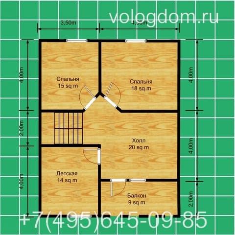 Двухэтажный дом 9х9 м: план второго этажа