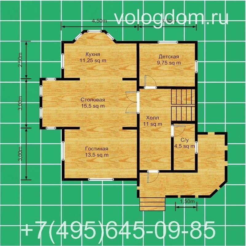 дом 9 на 9 с полувальмовой кровлей: план первого этажа