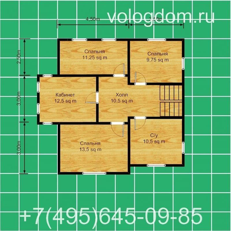 дом 9 на 9 с полувальмовой кровлей: план второго этажа