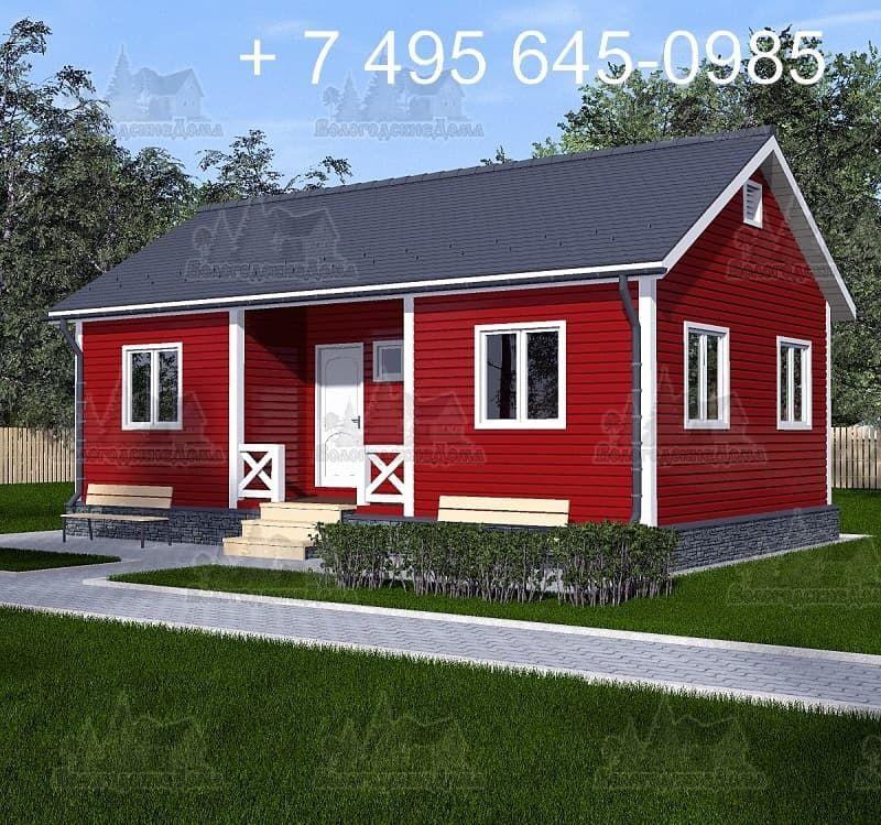 Одноэтажный каркасный дом 10 х 5.5 м