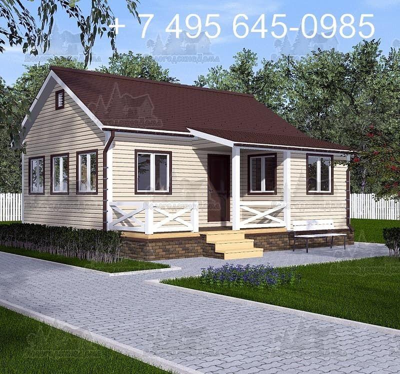Одноэтажный каркасный дом 7.5х8.0 м с односкатной кровлей