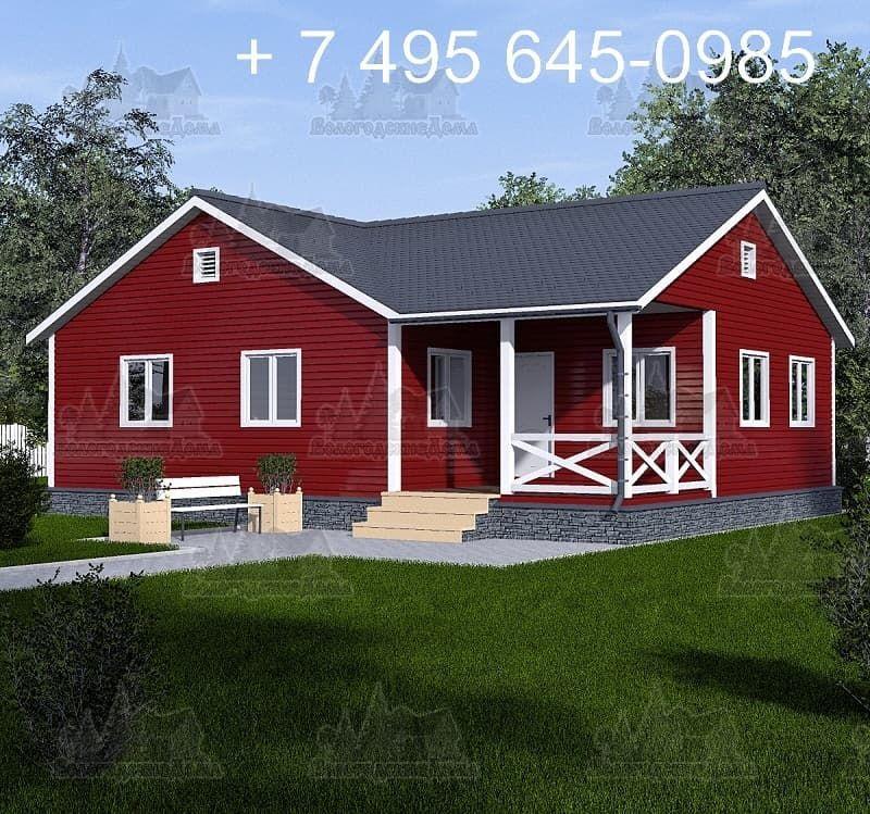 Каркасный дом 15.5х7.5 м со сложной финской кровлей