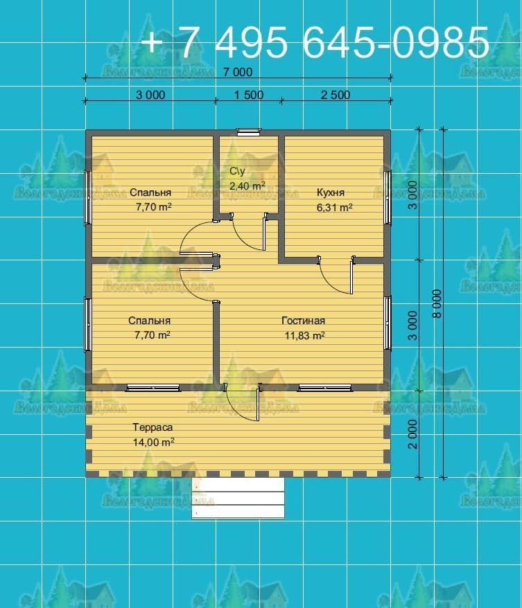 План Одноэтажного каркасного дома 7 на 7.5 метров