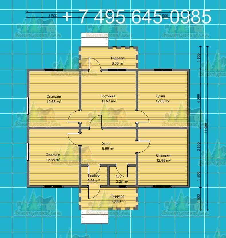 План дома 11.0х13.5 м