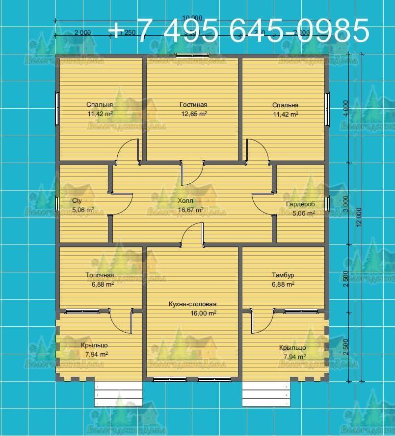 План дома 22.5х12.5 м