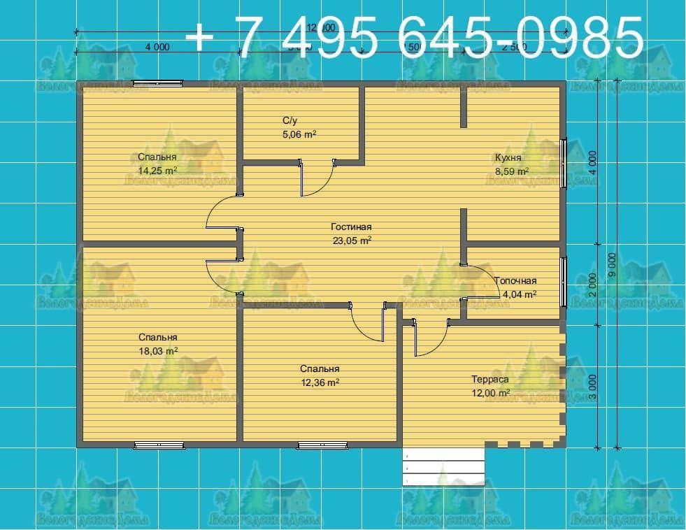 План каркасного дома 15.5х7.5 м со сложной финской кровлей