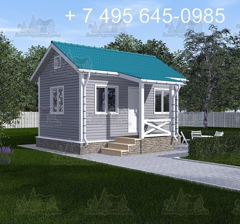Одноэтажный дачный дом 4х4м с крыльцом