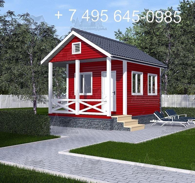 Садовый каркасный дом 4х4 м с террасой