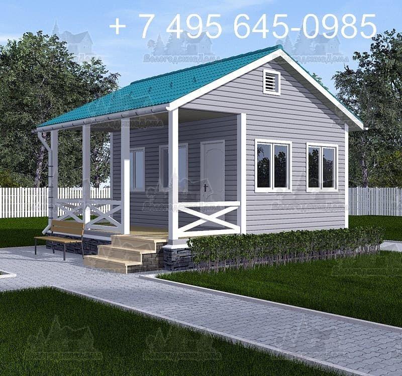 Садовый каркасный дом 6х6м с террасой