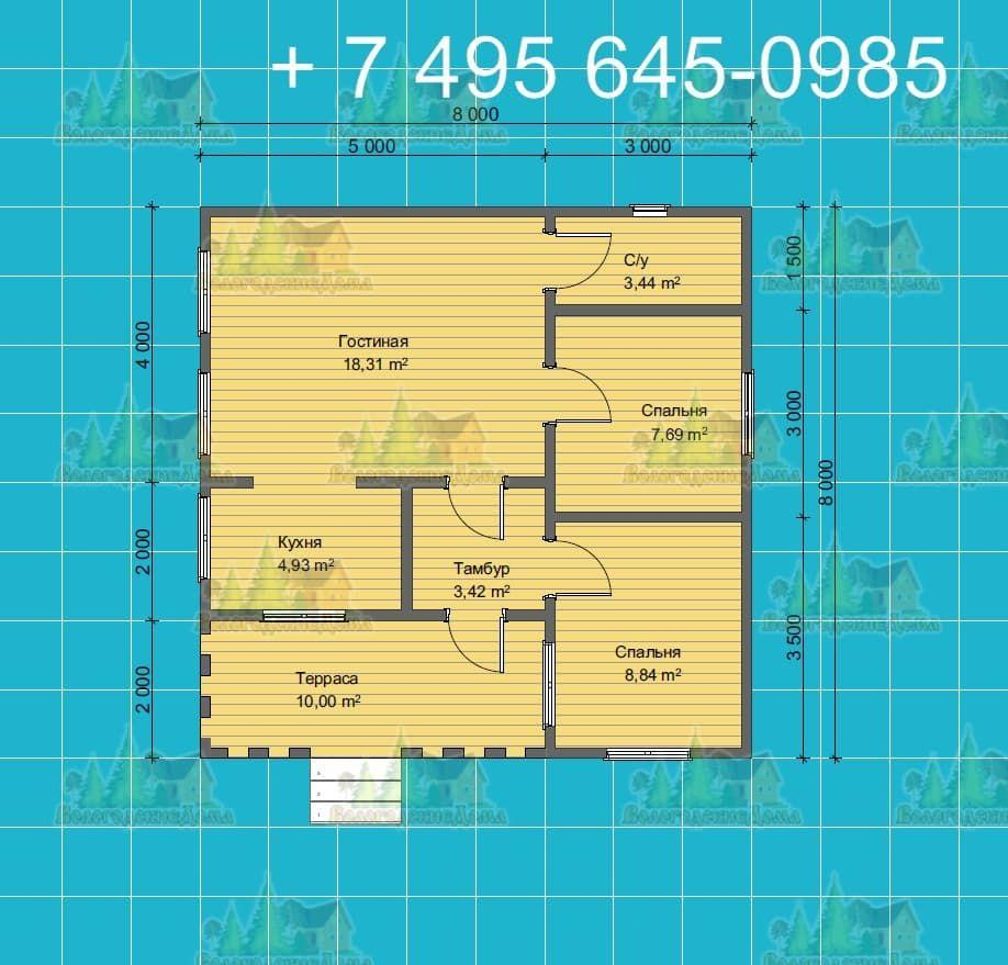 План одноэтажного каркасного дома 7.5х8.0 м с односкатной кровлей