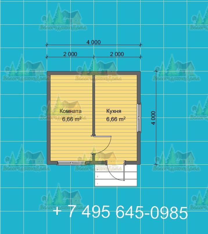 План садового каркасного дома 4 на 4 м