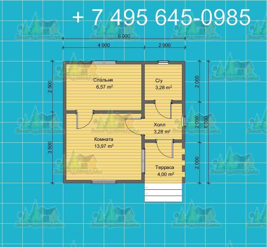 План одноэтажного каркасного дома 6х6