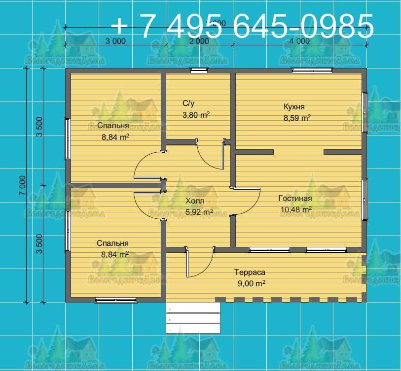План одноэтажного дома с плоской кровлей