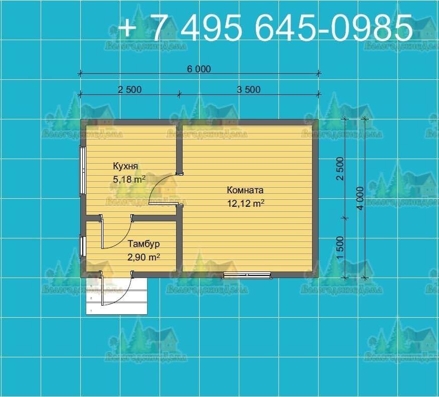 План одноэтажного каркасного жилого дома 4х6 метров
