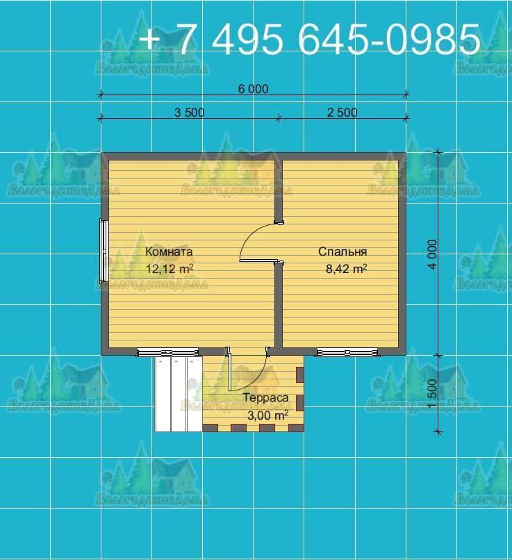 План одноэтажного дачного дома 4х4м с крыльцом