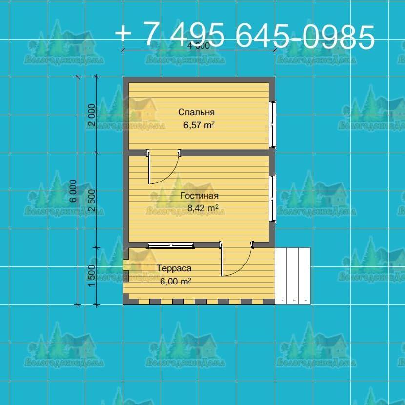 План садового каркасного дома 4х4 м с террасой
