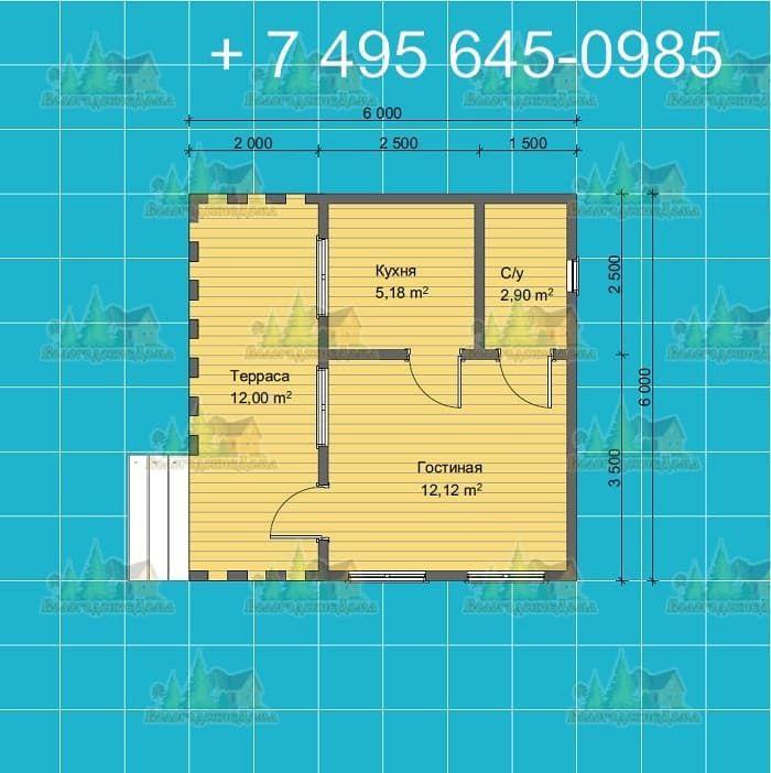План садового каркасного дома 6х6м с террасой