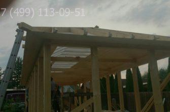 трехскатная крыша пристройки