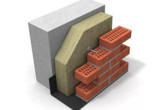 Трёхслойная стена с минераловатным утеплителем