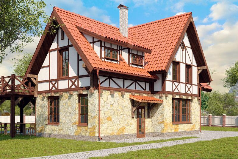 Комбинированный дом из газобетона и дерева - отделка второго этажа под фахверк