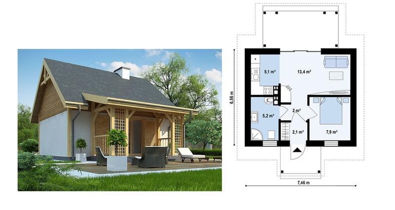 Одноэтажный дом из газобетона 6х8
