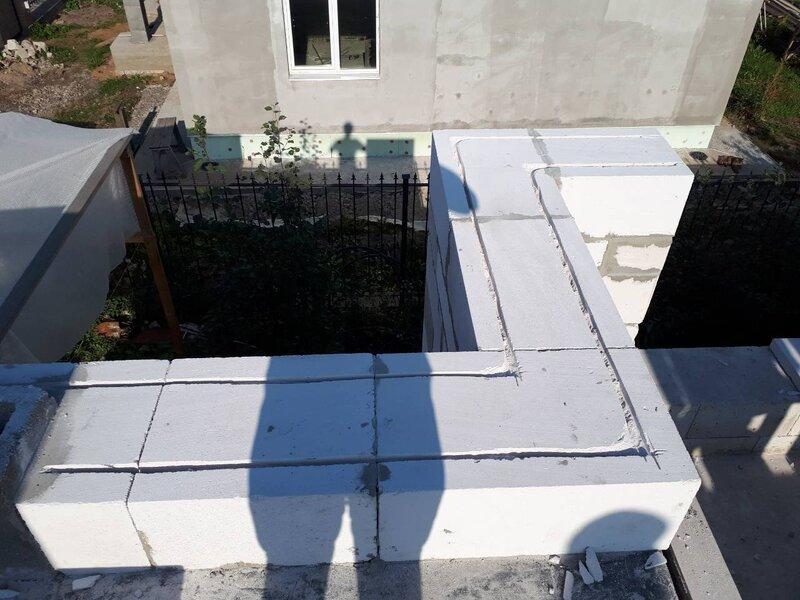 Однослойная стена из газоблока 600x250x400