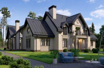 Двухэтажный дом из газоблока, стиль прованс