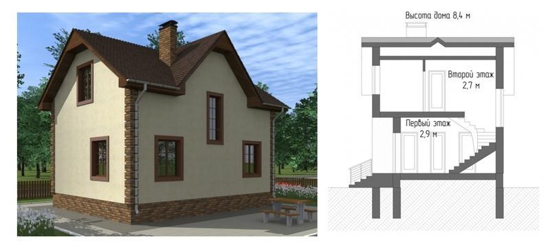 Проект дома из газобетона 6х8 с двумя полноценными этажами