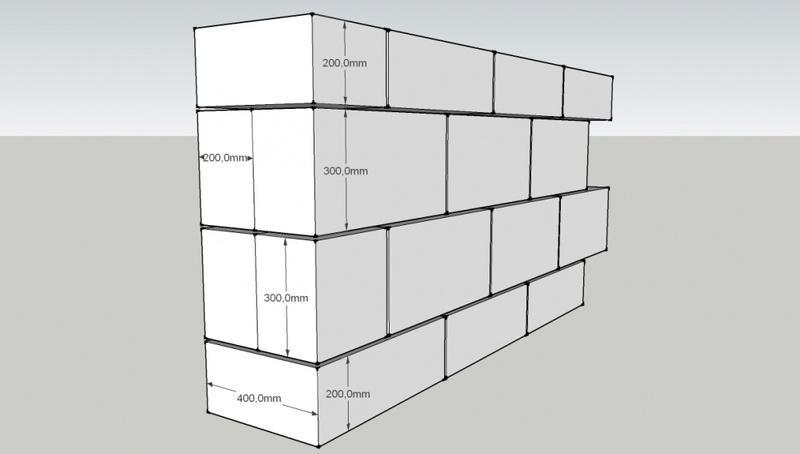 Схема двухслойной стены из блоков 600x200x300 и 600x200x400