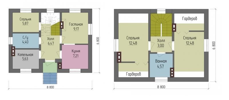 Планировка дома 6х8 - газобетон