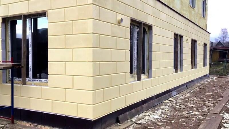 Внешний вид фасада из газоблоков с фаской