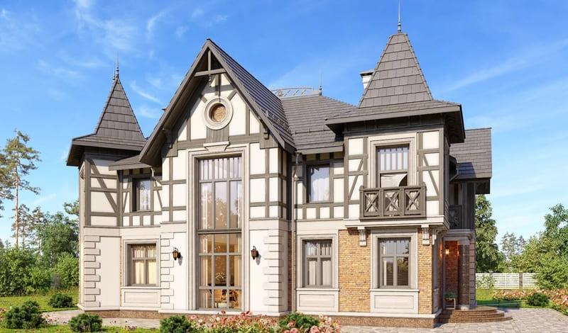 Проекты домов из газобетона 2 этажа, стиль нормандский